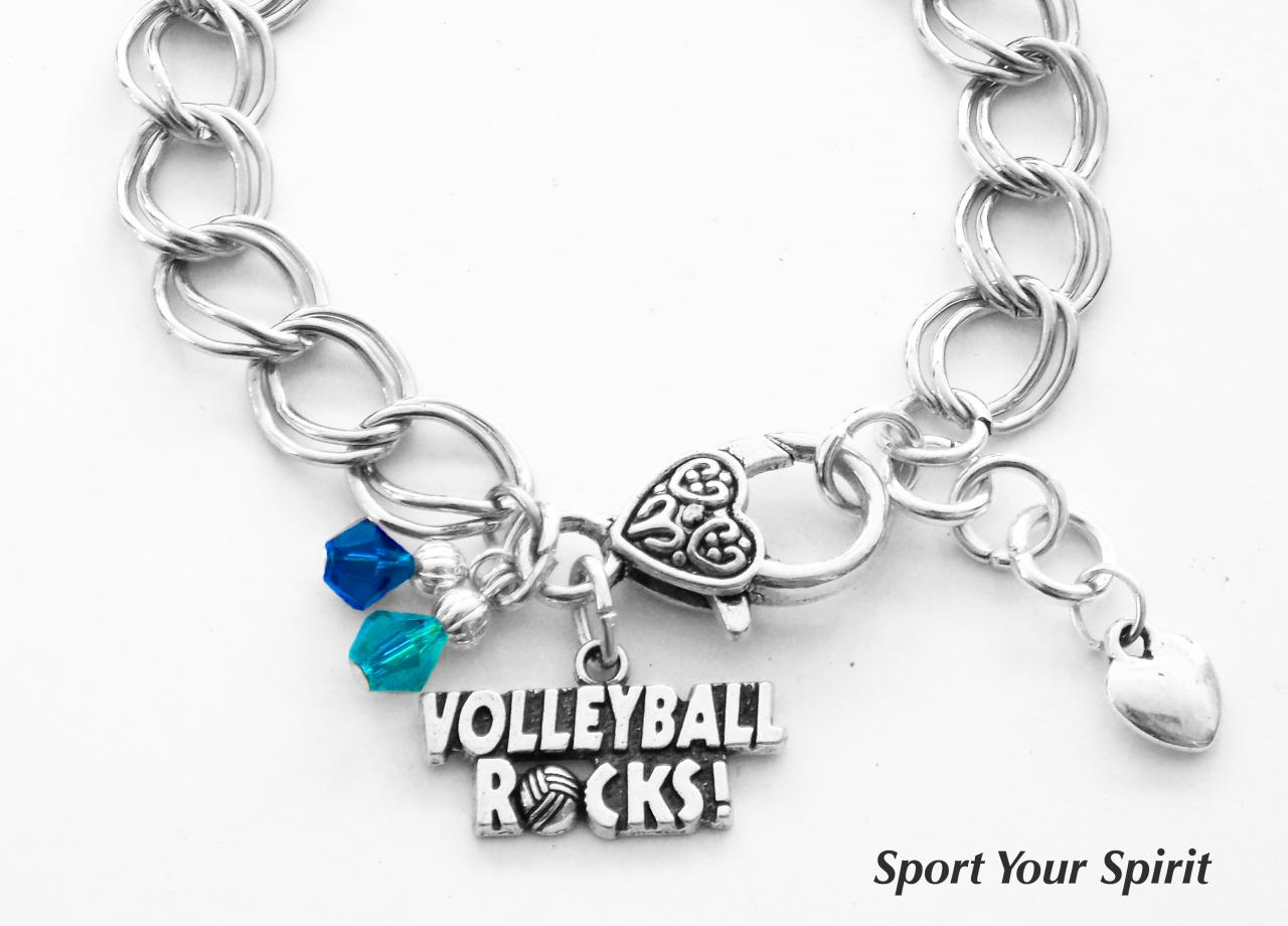 Personalized, Volleyball Bracelet, Team Color, Swarovski Bracelet, Volleyball Jewelry, Volleyball Gift, Mom Bracelet, Coach, (Made to Order)